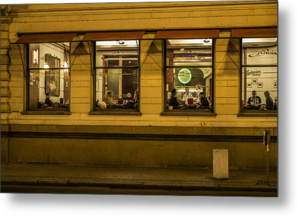 Evening Cafe In Prague Metal Print by Marek Boguszak