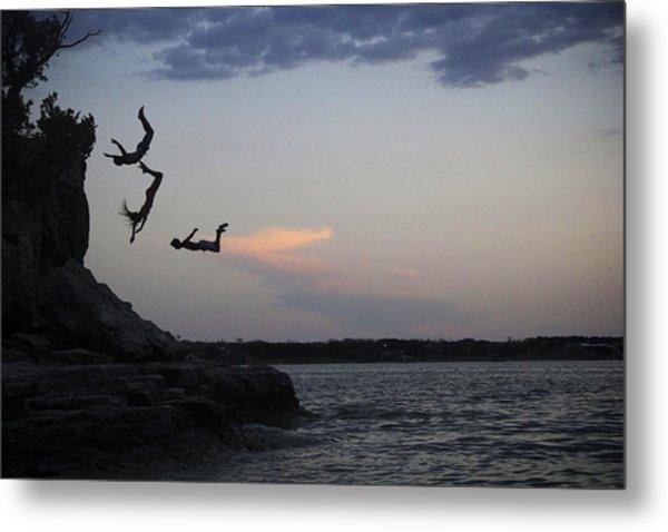 Evening Cliff Jump Metal Print