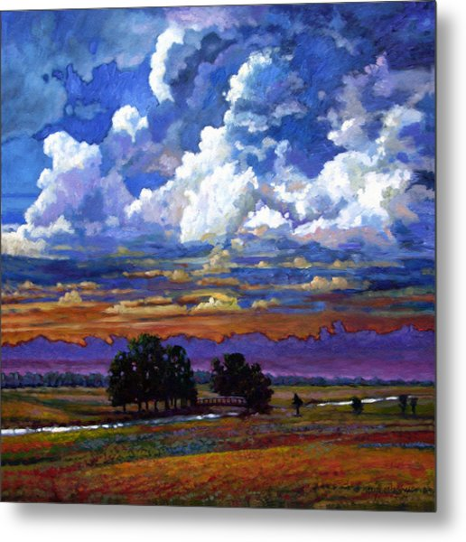 Evening Clouds Over The Prairie Metal Print