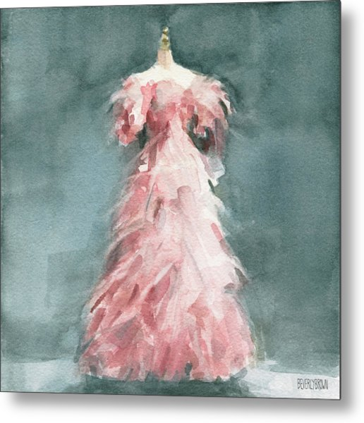 Evening Dress With Pink Feathers Metal Print