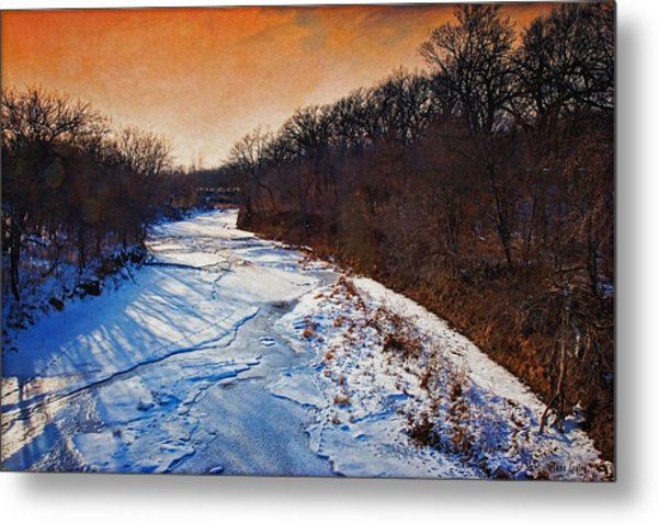 Evening Frozen Creek Metal Print