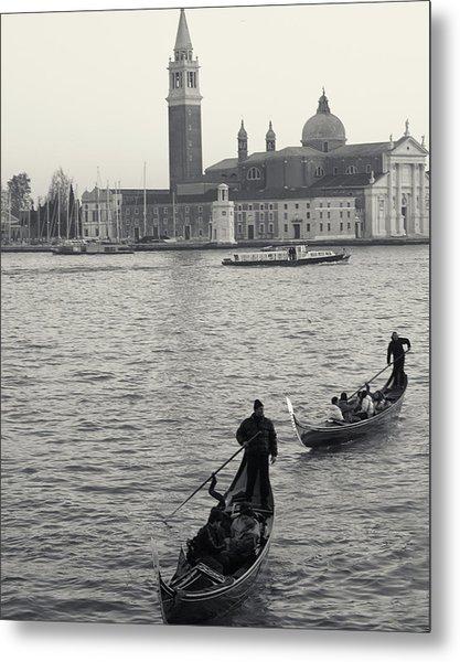 Evening Gondoliers, Venice, Italy Metal Print