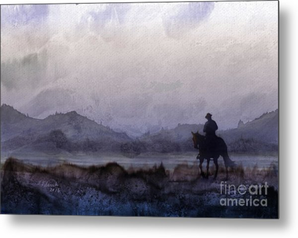 Evening Horseback Ride Metal Print