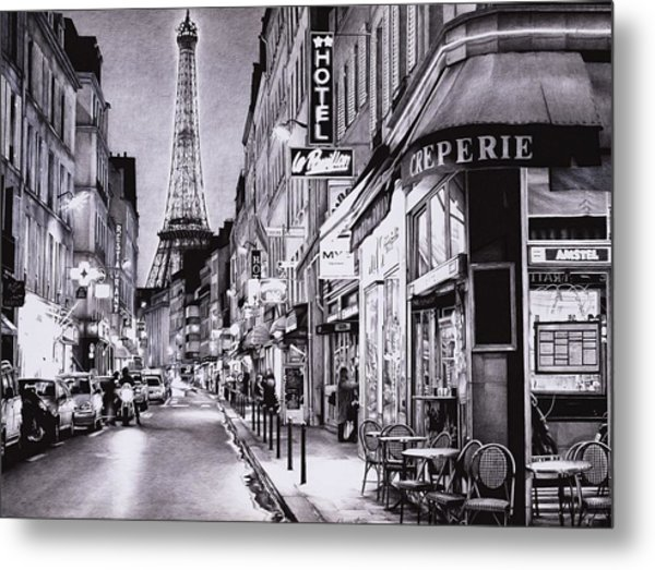 Evening In Paris - Ballpoint Pen Art Metal Print