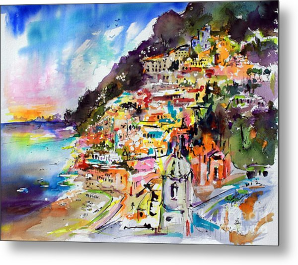 Evening In Positano Italy Metal Print