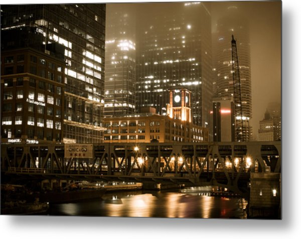 Evening In The Windy City Metal Print