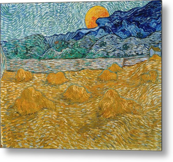 Metal Print featuring the painting Evening Landscape With Rising Moon by Van Gogh