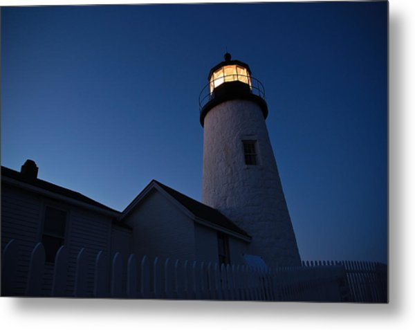 Evening Lighthouse Pemequid Point Me Metal Print by Richard Danek