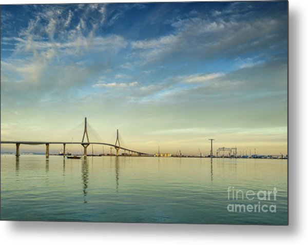 Evening Lights On The Bay Cadiz Spain Metal Print