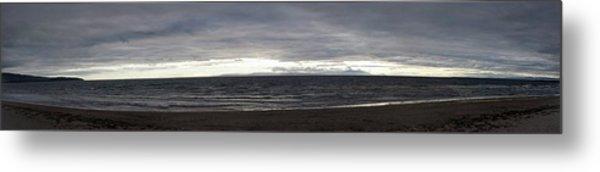 Evening Panoramic Ayr Beach, Scotland Metal Print