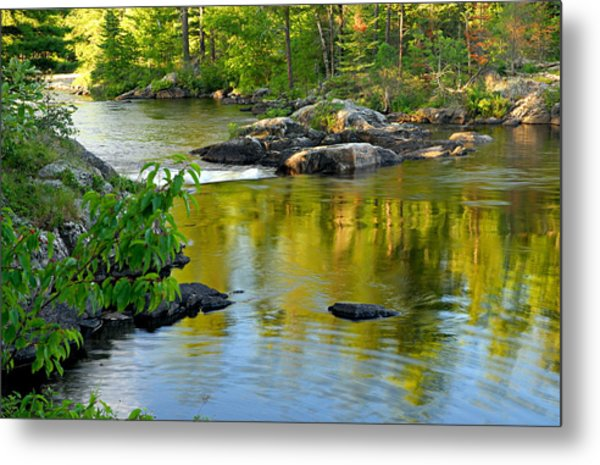 Evening Reflections At Lower Basswood Falls Metal Print