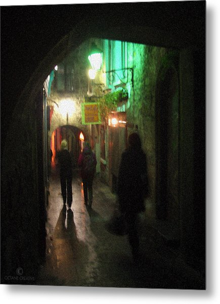 Evening Shoppers Metal Print