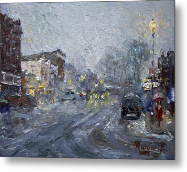 Evening Snowfall At Webster St Metal Print