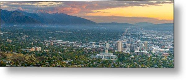 Evening View Of Salt Lake City From Ensign Peak Metal Print