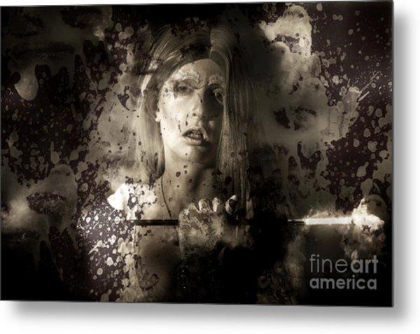 Evil Vampire Woman Looking Into Bloody Mirror Metal Print