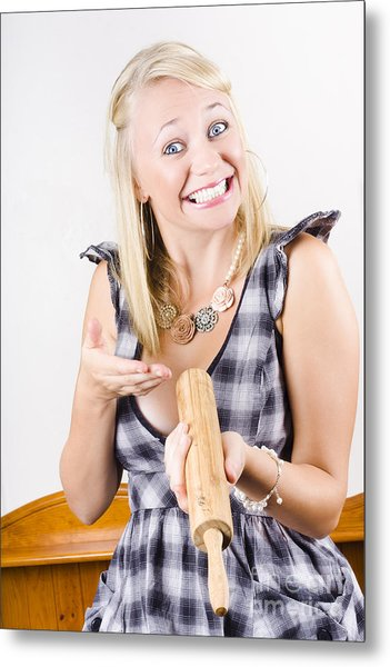 Excited Baker With Brand New Rolling Pin Metal Print