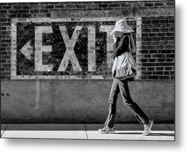 Exit Bw Metal Print