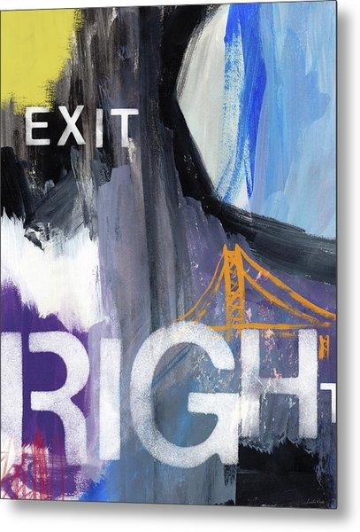 Exit Right- Art By Linda Woods Metal Print