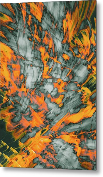 Exploded Fall Leaf Abstract Metal Print