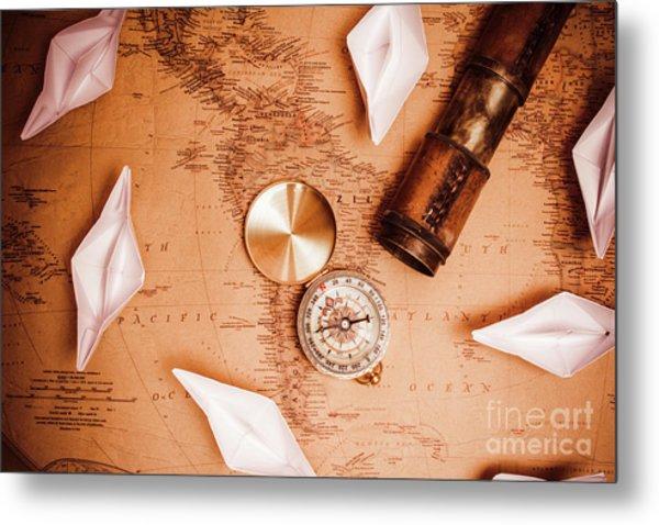 Explorer Desk With Compass, Map And Spyglass Metal Print