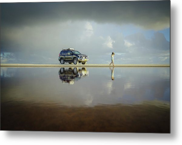 Exploring The Beach On A Rainy Day Metal Print
