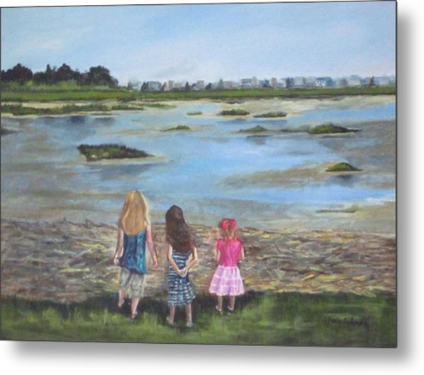 Exploring The Marshes Metal Print