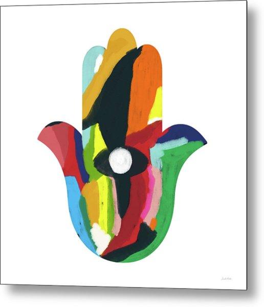 Expressionist Hamsa- Art By Linda Woods Metal Print