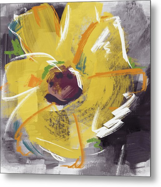 Expressionist Sunflower- Art By Linda Woods Metal Print