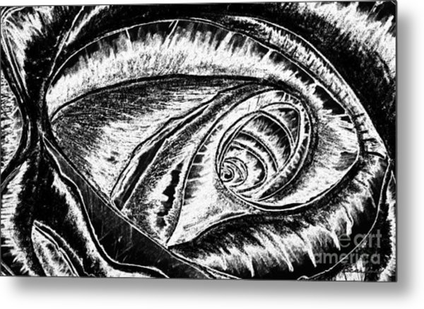 A0216a Expressive Abstract Black And White Metal Print