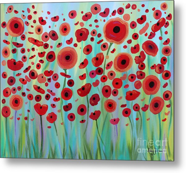 Expressive Poppies Metal Print