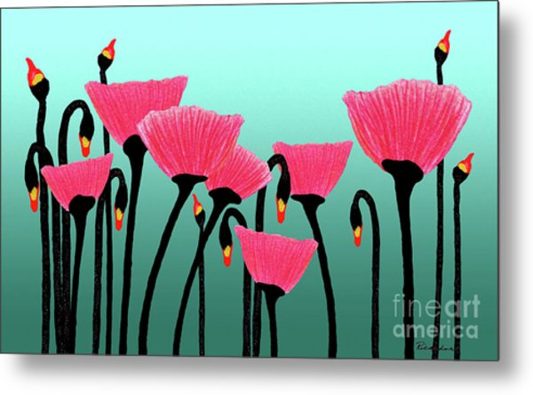 Expressive Red Pink Green Poppy Painting Y1a Metal Print