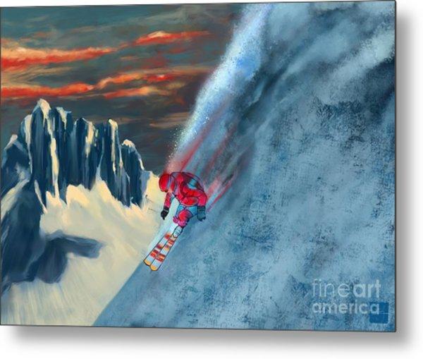Extreme Ski Painting  Metal Print