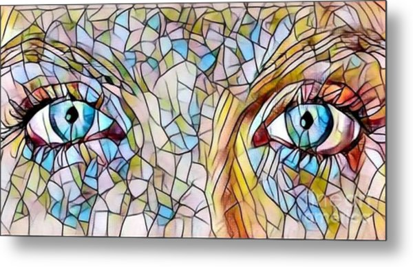 Eyes Of A Goddess - Stained Glass Metal Print
