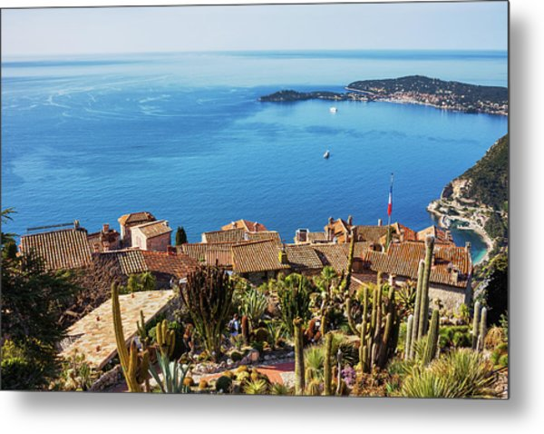 Eze Village And The Sea Metal Print