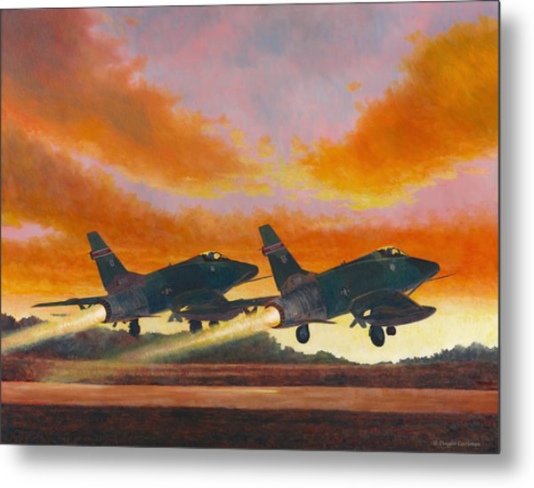 F-100d's Missouri Ang At Dusk Metal Print