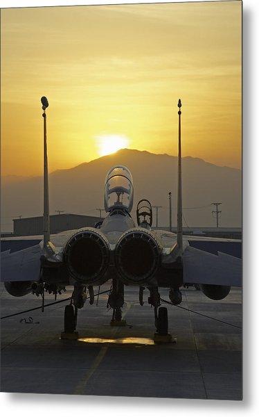 F-15e At Sunrise Metal Print by Tim Grams