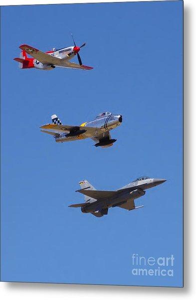 F-16 P-51d F-86 Heritage Flight- Flyby Metal Print