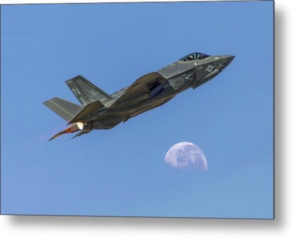 F-35 Shoots The Moon Metal Print
