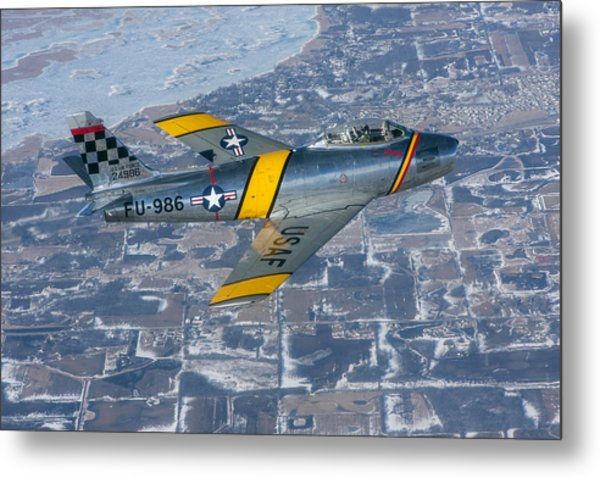 F-86 Sabre Flying 2 Metal Print