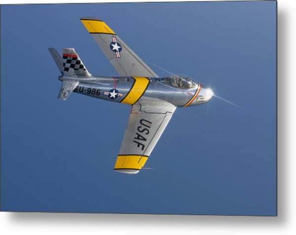 F-86 Sabre Over Lake Michigan Metal Print