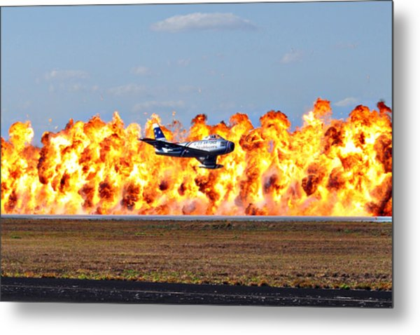 F-86 Wall Of Fire Metal Print by Mark Weaver