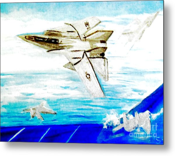 F14 And Carrier Metal Print
