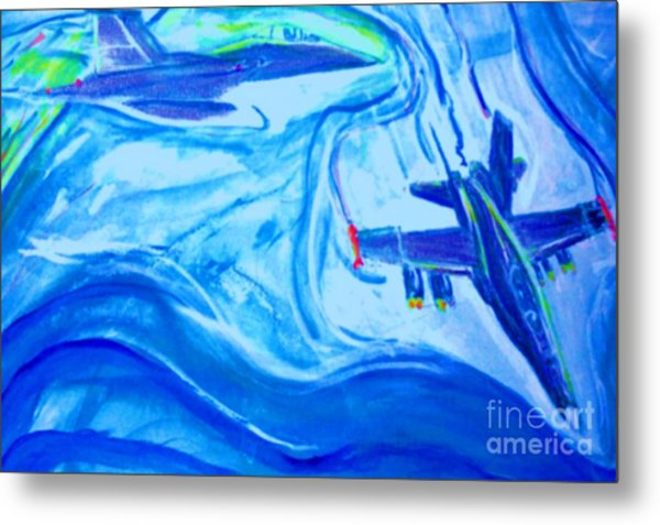 F18 Fighter Aircrafts In Flight Metal Print