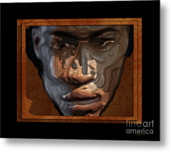 Face In A Box Metal Print by Walter Oliver Neal
