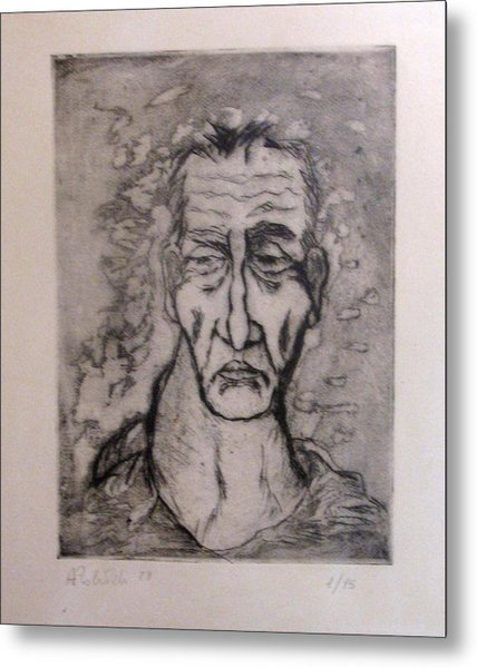 Face Marked By Fatigue Metal Print by Alfonso Robustelli