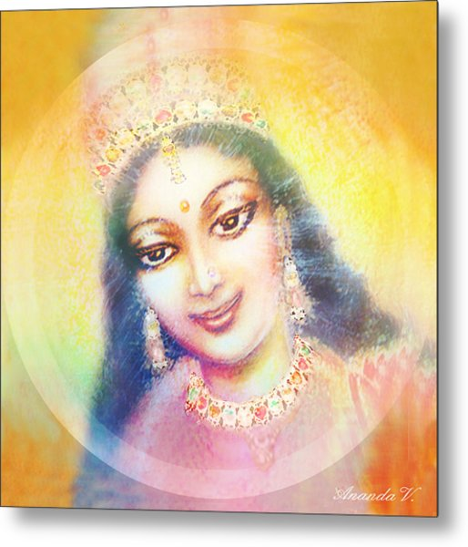 Face Of The Goddess - Lalitha Devi - Rainbow Colors Metal Print by Ananda Vdovic