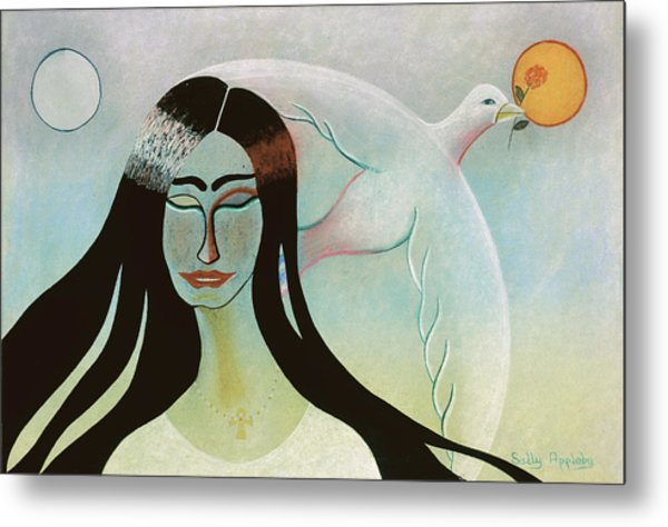 Face With Dove Metal Print by Sally Appleby