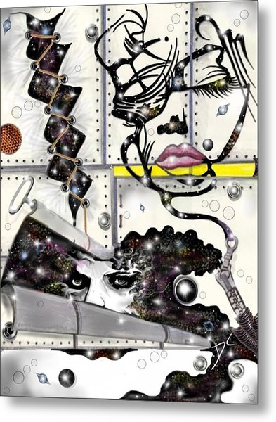 Metal Print featuring the digital art Faces In Space by Darren Cannell