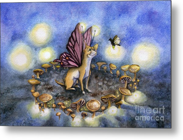 Faerie Dog Meets In The Faerie Circle Metal Print