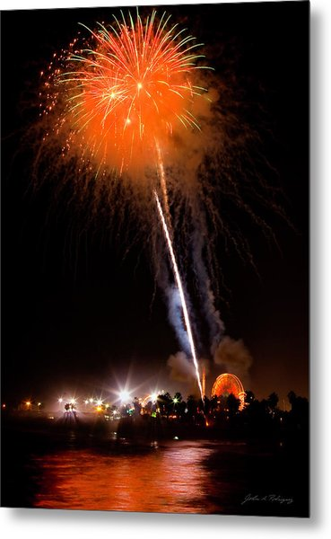 Fireworks As Seen From The Ventura California Pier Metal Print